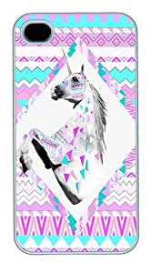 IMARTCASE iPhone 4S Case, Hipster Unicorn Aztec Print Polycarbonate Back Case for Apple iPhone 4S/5 White