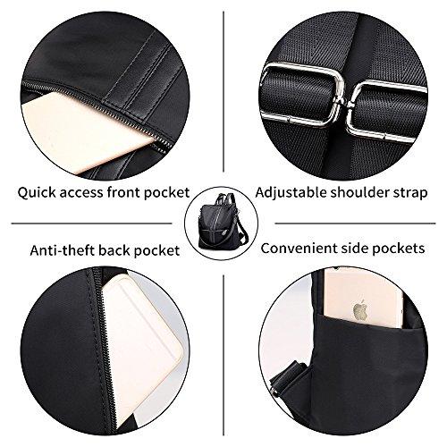 Bag Resistant Grey Rucksack Women Backpack Handbag for Girl Shoulder Purse Artwell Casual Lady Nylon School Water n4zBWqFc