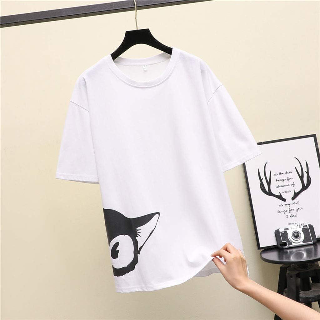 SERYU Fashion Women's Casual O-Neck Short Sleeve Blouse Fun Print Blouse B White