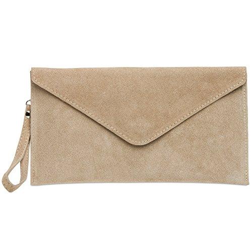 en enveloppe CASPAR TL708 Sable daim pour Sac clutch à femme main IBXIx