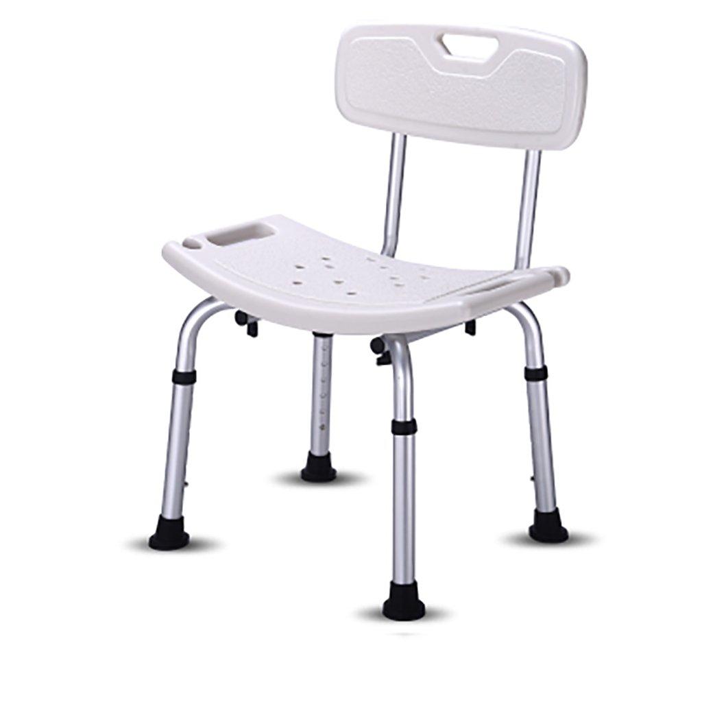 シャワースツール\シャワーチェア 背もたれバス障害援助付き調節可能な高さのポータブルシャワースツールバスルームシート バスシートベンチ\バススツール B07DXNTV8W