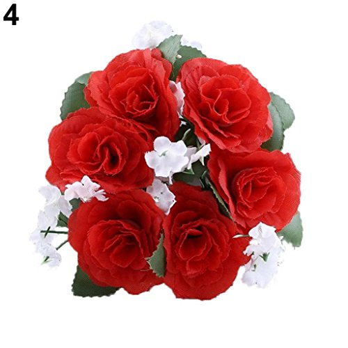 - Artificial Flower Floral Candle Ring Holder Wedding Tabletop Centerpiece Decor - Red Ameesi