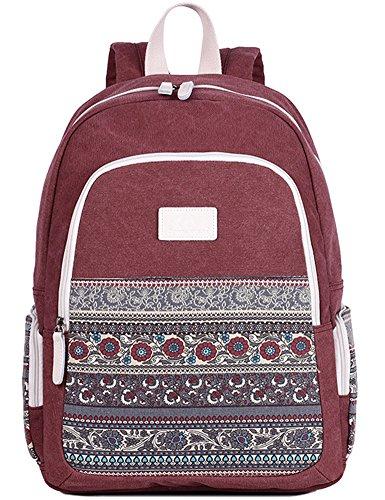 Casual Daypack for Men and Women, Canvas School Backpack Laptop Bag Vintage Travel Rucksack (Red)