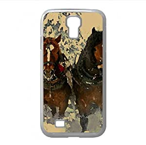 Horse Drawn Carriage In Snow Watercolor style Cover Samsung Galaxy S4 I9500 Case (Horses Watercolor style Cover Samsung Galaxy S4 I9500 Case) by icecream design