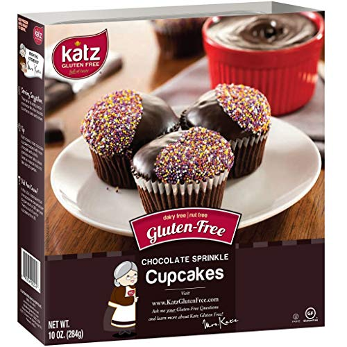 Katz Gluten Free Chocolate Sprinkle Cupcakes | Dairy, Nut and Gluten Free | Kosher (1 Pack of 4 Cupcakes, 10 Ounce)