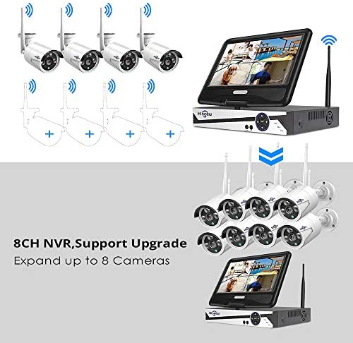[8CH Expandable] Hiseeu All in one with 10.1″ Monitor Wireless Security Camera System,8ch Wireless Home Security Camera System,4pcs 1080P Indoor/Outdoor Security Camera,Remote View,1TB Hard Drive 51pcrnWWE5L