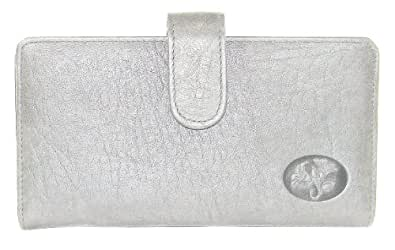 Buxton Grey Leather Heiress Tab Checkbook Cover & Credit Card Holder