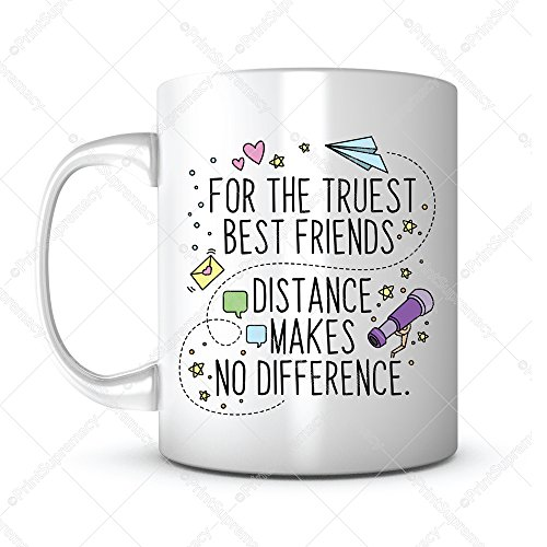 For the Truest Best Friends, Distance Makes No Difference-Gift Coffee Mug Ideas for Graduation Gift/College Grad/High School Graduation Gift/HS Grad Gift/Graduation Mug for Classmate/Friend Mug (1) -