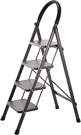 ZZHF tideng Escalera Plegable de Acero Escalera Plegable de extensión para el hogar Escaleras móviles de Tres o Cuatro Pasos: Amazon.es: Hogar