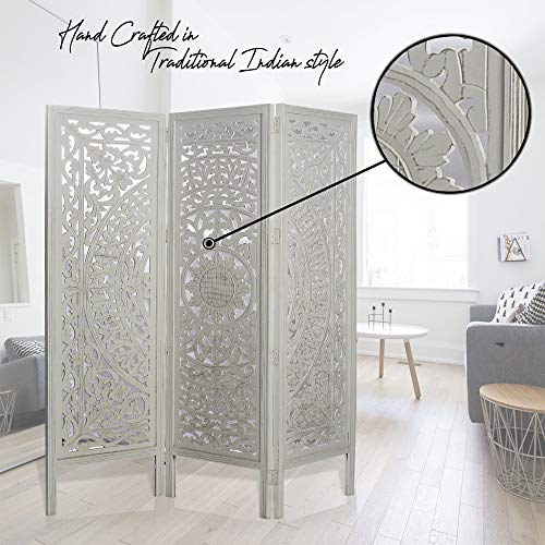 """India Overseas Trading Corporation 6 Ft. Large Room Divider 3 Panels Decorative Wooden Screen Folding Privacy Screen, Sheesham Wood, 72"""" (White WASH)"""