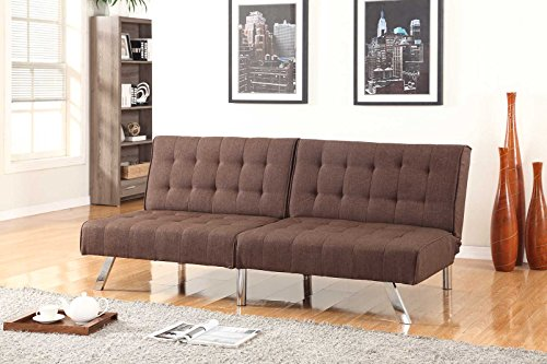 Chocolate Brown Linen With Split Back Adjustable Klik Klak Sofa Futon Bed Sleeper Convertible Quality 275brown_19 77' Wide