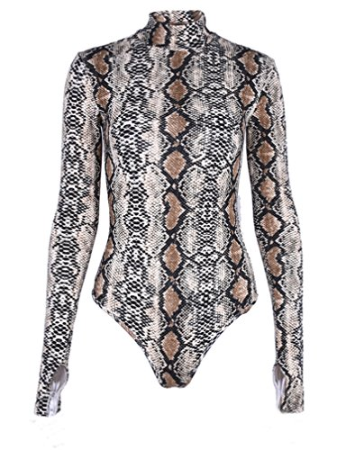 LAUWEE Womens Pullover Snakeskin Tops Bodysuit Pullover Long Sleeves Shirt