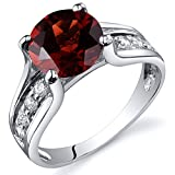 Garnet Solitaire Style Ring Sterling Silver 2.50 Carats Size 9