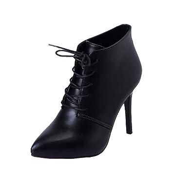 LuckyGirls Botas Cuero para Mujer Botas de Nieve Botitas con Cordones Zapatos de Tacón 10cm Botín Tacones Finos: Amazon.es: Deportes y aire libre