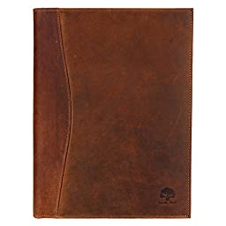 Handmade Leather Business Portfolio by Rustic Town | Professional Organizer Men & Women | Durable Leather Padfolio 3 + 1 Sleeves for documents and notepad | Fits IPad Pro (9.7 inch) IPad mini & IPad