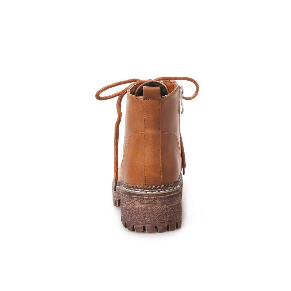 BalaMasa Womens Chunky Heels Bandage Platform Urethane Boots ABL11257