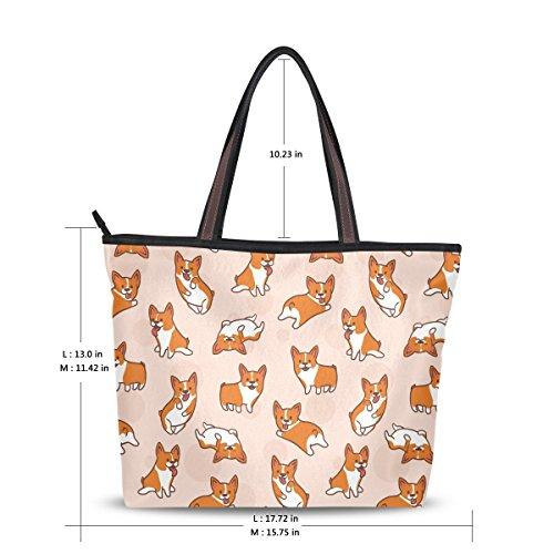 Cartoon Corgis Pattern Tote Bags Women's Stylish Travel Totes Fabric Zippered Tote for Shopping Handbag by Juilyu (Image #1)