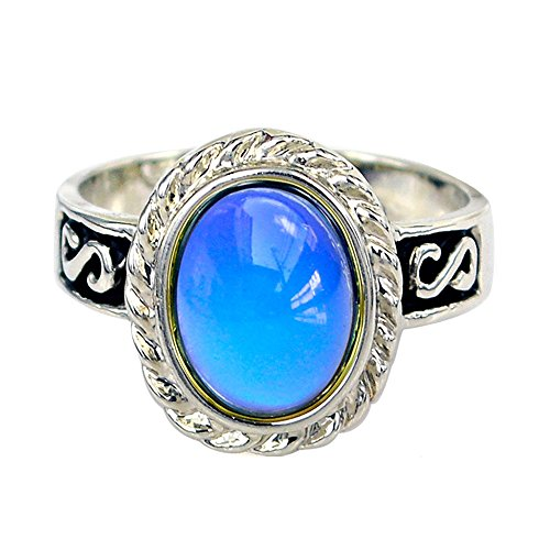Fun Jewels Vintage Silver Tone Multiple Color Changing Oval Stone Pattern Engraved Mood Ring Size 6-9 ()