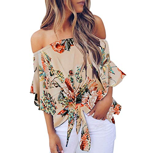 Limsea Clearence Sale! Women's Striped Off Shoulder Bell Sleeve Shirt Tie Knot Casual Blouses Tops (A-Beige, XX-Large)