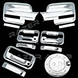 Razer Auto Triple Chrome Plated Mirror Cover (Does Not Fit on Towing Mirror), 2 Door Handle Cover With Keypad And with Passenger Keyhole, Tailgate Handle, Gas Door Cover for 09-14 Ford F150