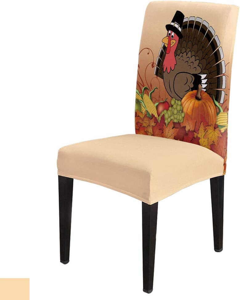 Dining Room Chair Covers Set of 6 Thanksgiving Turkey with Pumpkin Stretch Removable Washable Chair Protector Covers for Kitchen/Hotel/Wedding/Ceremony