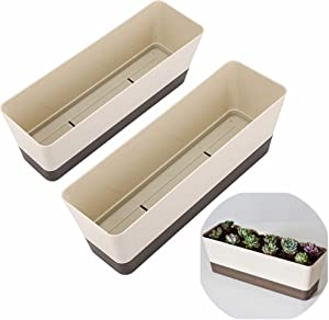 Skelang 12 Inch Plastic Rectangular Plant Pot, Watering Plant Container with Drainage Hole, Window Planter Box with Saucer for Succulent Plants, Flowers, Indoor Plants, African Violets, Pack of 2