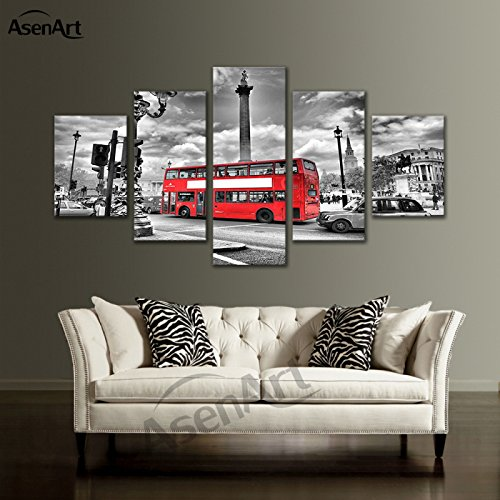 [LARGE] Premium Quality Canvas Printed Wall Art Poster 5 Pieces / 5 Pannel Wall Decor London Bus City Painting, Home Decor Pictures - With Wooden - London Frames