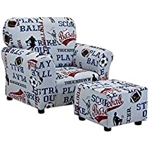 All Sports American Blue Club Kids Chair and Ottoman Set