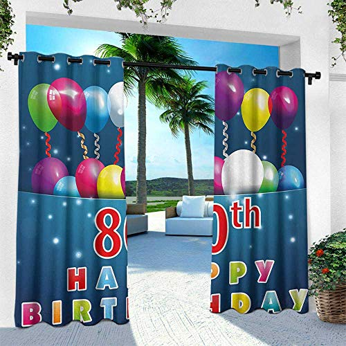 Hengshu 80th Birthday, Fashions Drape,Happy Birthday Quote with Colorful Baloons on Blue Colored Backdrop Image, W84 x L84 Inch, Multicolor