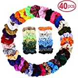 40Pcs Elastics Bands Velvet Ponytail Holder,Velvet Hair Scrunchies,Strong Hold Bobbles Velvet Hair Ties,Traceless Velvet Hair Ring, Hair Rope Accessory for Women