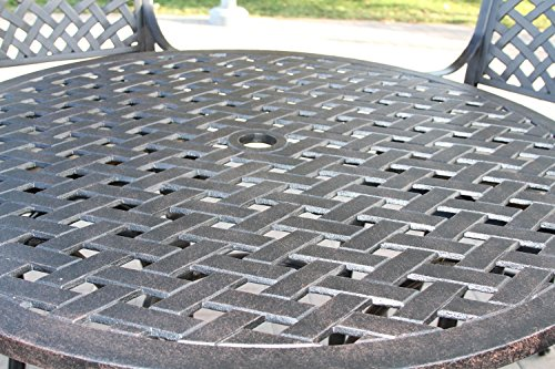 - Nassau Outdoor Patio 5pc Bar Set Dark Bronze Cast Aluminum, Walnut Cushions
