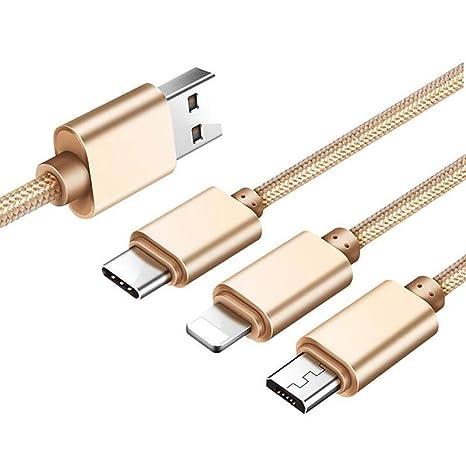 Cable Micro USB 3-en-1 Cargador de teléfono móvil [1.2M] C y ...
