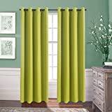 64 panel curtain - Bedroom Blackout Window Curtain Panels - Aquazolax Blackout Curtains 52x84-Inch Thermal Insulated Eyelets Window Treatment for Kitchen, 2 Panels, Greenery