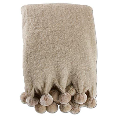 Mohair Wool Throw - tag - Mohair Wool Pom Pom Throw Blanket, Handwoven Warmth & Comfort, Taupe
