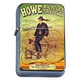 Silver Flip Top Oil Lighter Vintage Poster D-150 Howe Bicycles Tricycles Howe Machine
