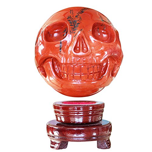 Alien Stand - Large 5 inch Natural Quartz Crystal Skull, Collectible Figurines,Mayan Alien Crystal Skull, Healing (Red Jasper Ball crystal with stand)