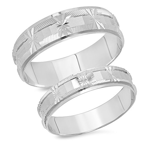 14K Solid White Gold His & Her's Matching Snowflake Design Wedding Band Ring Set (Choose a Size)