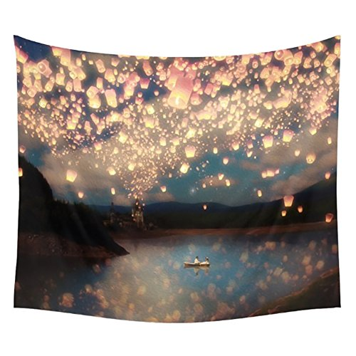 Adarl Psychedelic Natural&Pastoral Style Hanging Wall Tapestries Square Hippy Boho Gypsy Full-Polyester Tapestry Table Cover Bedspread Beach Towel Lattern Hope Tapestry B