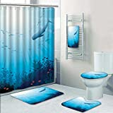PRUNUSHOME 5-piece Bathroom Set-Includes Shower Curtain Liner,Coral reef with school of fish and whale shark on a blue Print Bathroom Rugs Shower Curtain/Bath Towls Sets(Large)