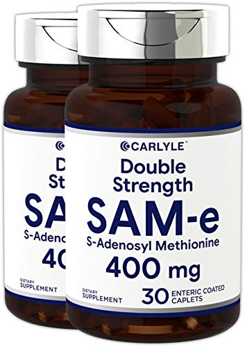 Carlyle SAM-e400mg 60 Enteric Coated Tablets - Vegetarian, Non-GMO, Gluten Free, Mood and Joint Support Supplement