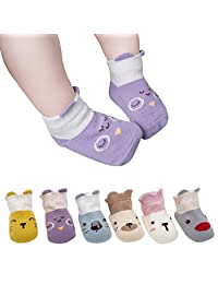 Wellwear Unisex Baby Non-skid Socks Toddler Cozy Socks for 0-36 Months (6 Pairs)