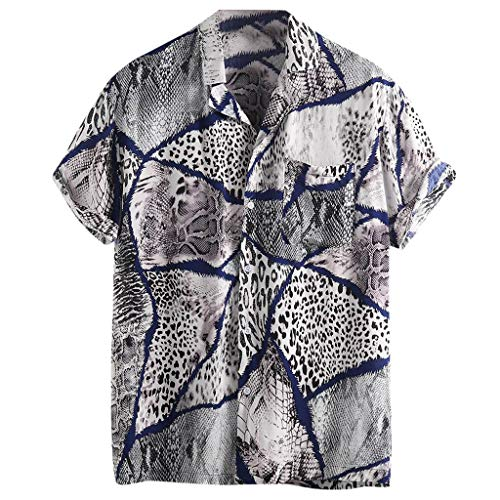 JJLIKER Men's Hipster Short Sleeve Shirts Leopard Print Button Down Casual Tees Shirts Beach Hawaiian Shirt with Pockets