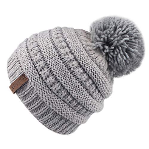 Logo Cap Ski Hat (FURTALK Kids Slouchy Winter Knit Beanie Hats Faux Fur Pom Pom Hat Bobble Hat Ski Cap …)