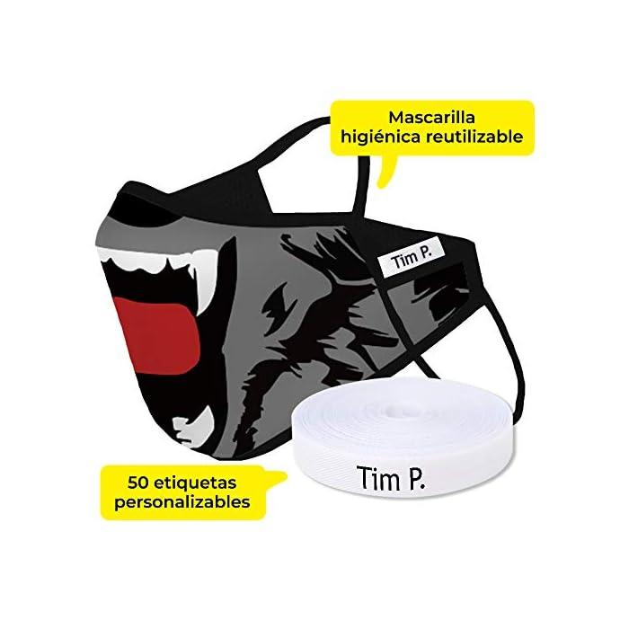 51pcwOrq%2BbL Mascarilla de tela reutilizable con tejido homologado por la UNE 0065:2020 Lavable hasta 5 veces a 90ºC 100% Poliéster