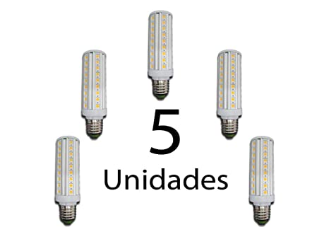 NLI PACK 5 UNIDADES Bombillas LED Mazorca 10W -220V rosca E27 (Blanco Frio)