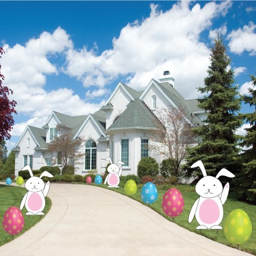 VictoryStore Yard Sign Outdoor Lawn Decorations: Easter Egg and Bunnies, Flat Pathway Markers - Easter Yard Decorations and Stakes