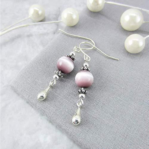 Beaded Tassel Earrings Cat/'s Eye Bead   Boho Earrings  Gift for Her