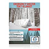 Emergency Shelter Tent Mylar Blanket Reinforced Nasa Durable Reflective Waterproof Safeguards Against Extreme Cold Weather Elements, 2 Person (8x3) with 20' Sturdy Nylon Rope By Inside N Beyond.