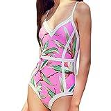 Meigeanfang Womens One Piece Swimwear, Bikini Push-Up Padded Leaves Print Backless Beachwear Swimsuits (Pink,S)