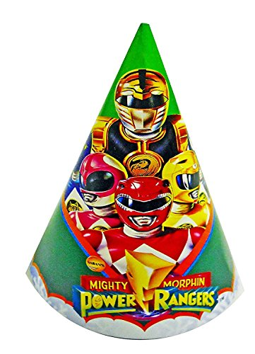 Power Rangers Mighty Morphin Birthday Party Hats - 8 Paper Hats